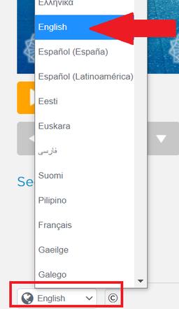 "Set the language - choose ""English"""