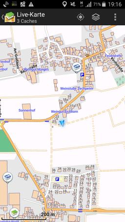 Karte zeigt 3 Caches an...