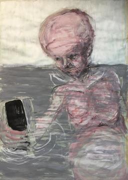Selfie, Acryl mit Sand, Tempera auf Papier, 2017