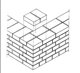 muratura di mattoni a due teste disposte ad angolo retto