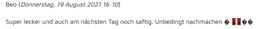 Webseiten-Kommentar von Testesserin Beo zu den Bienenstich-Muffins für Dinkel-Dreams 3 von K.D. Michaelis