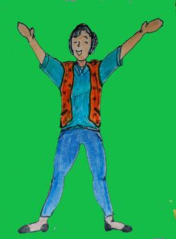 Zeichnung einer Frau, die die Arme nach oben streckt und sich freut.