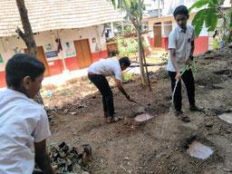 木を植えるために穴を掘ったりと準備作業も頑張っています