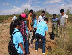 砂漠化防止事業を地域住民とともに 展開している村を視察
