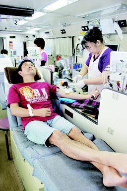 県赤十字血液センターでは、多くの人の協力を呼び掛けている=15日午後、八重山合同庁舎