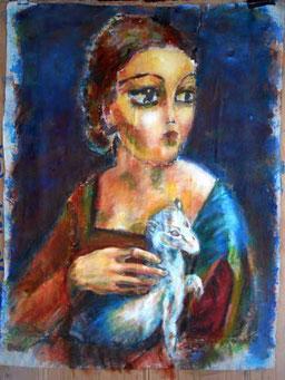 peinture,figuratif,outsider,portrait,art singulier, leonard, vinci, leonard de vinci, la dame à l'hermine