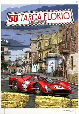 Nino Vaccarella su Ferrari 330 P3, Targa Florio 1966. Inchiostro su carta, colorazione digitale (2019).