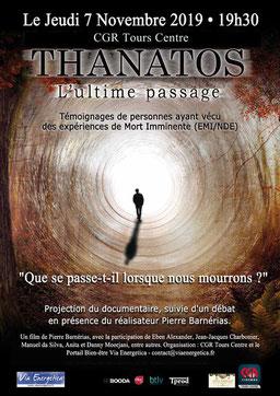 film Thanatos à Tours, le 7 novembre 2019 - annuaire via energetica, films spirituels