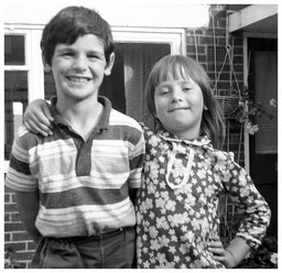 Me with my sister, Caron. She's still a bit like this.