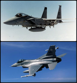 """Sopra F-15C """"Eagle"""" - Sotto F-16 Fighting Falcon (General Dynamics)"""