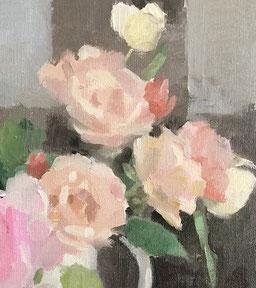庭のバラたち 6号(部分) 油彩