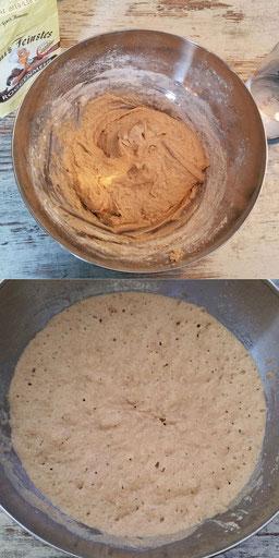 Vorteig vor und nach der Sauerteig-Gärung