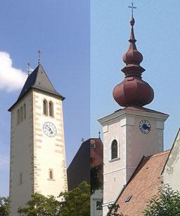 Bildteil links: Pfarrkirche Sievering, Bildteil rechts: Pfarrkirche Orth an der Donau.   ©: Memory Gaps, 2019
