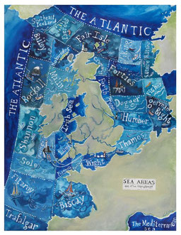 Illustration of UK shipping forecast areas by Driftwood Designs in Aberystwyth