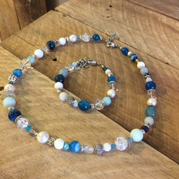 #necklace#set#bracelet#blue#white#pearl#agate#shell#glass