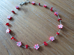 red#short#necklace#girls#coral#flowers#