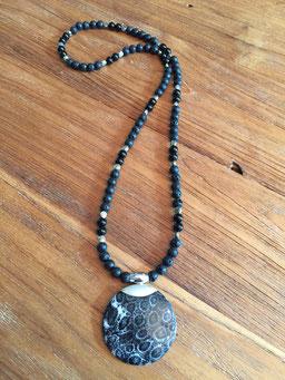 #longnecklace#obsidian#lavastone#pendantshellsilver#tinarts#bangkok