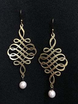 earrings#goldplated#pearl#tinarts