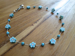 short#necklace#blue#flowers#girls#