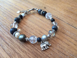#bracelet#black#grey#pearl#agate#shell#glass#elephant