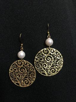 #earrings#goldplated#pearl#tinarts
