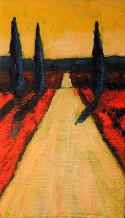 Toscane 7 : format 19x33cm,  huile sur toile