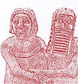 Disegno della Coppia da Nippur, Sumer, 3.000 a.C. - Museo Nazionale di Bagdad