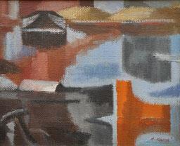 """Rossi Attilio """"I colori della Darsena"""", 1980, olio su tela, 46 x 38 cm"""