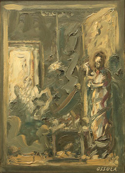 """Giancarlo Ossola, """"Allegoria"""", 1990, olio su tela, 35 x 25 cm"""