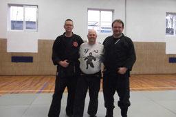 Ulrich Brömmelhaus, Michael Wedekind und Carsten FIscher nach dem Training.