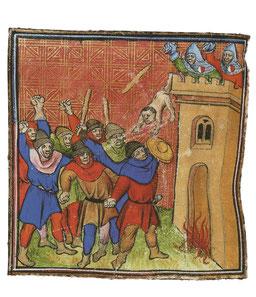 Les pastoureaux de la troisième croisade tentent d'incendier la tour de Verdun-sur-Garonne, en Languedoc, où 500 juifs avaient trouvé refuge. TEMPLE DE PARIS