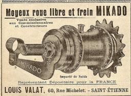 Mikado-Nabe von Husqvarna. Anzeige um 1920