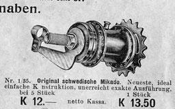 Mikado-Nabe von Husqvarna. Anzeige Vinzenz Ettrich, Wien, 1913/14