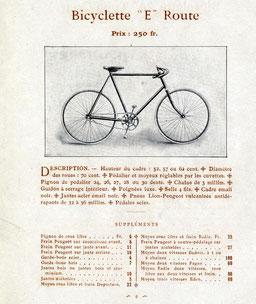 Katalogblatt 1908. Erstes Modell des E Route