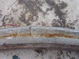 Holzfelge mit Alu-Einlage bei der Auffindung