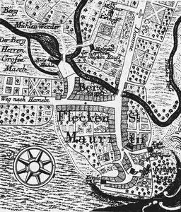 Bergflecken Mauritius um 1770 mit Kreyla- und Katzthor sowie Juden-Begräbnis