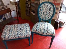 marylinegrac- tapissier d'ameublement-Chaise et tabouret. Rénovation complète