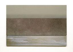 Scaletta IV  2011  Kunstharz, Pigment, Steinmehl, Ölfarbe auf Gips / auf Holz  2 Teile  30 x 50 cm / 9 x 50 cm