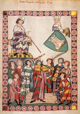 Heinrich von Meißen (Frauenlob), Minnesänger. (Codex Manesse, segle XIV).