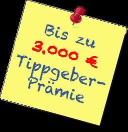 Bis zu 3.000 € Tippgeber-Prämie