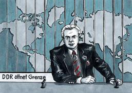 30 Jahre Mauerfall, ARD-Tagesthemen meldet die Grenzöffnung-Bild aus dem Comic Todesstreifen