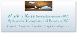 Marina Kuss, Psychotherapeutin (HPG), Systemische Therapeutin und Beraterin (SG)