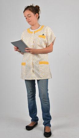 blouse pro - tunique Tropique motifs géométriques jaunes