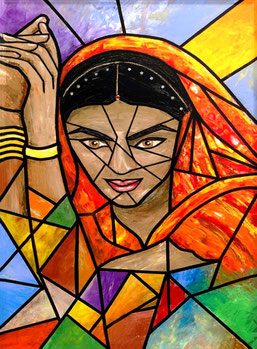 Indian Girl / Acrylic on canvas / 30 x 20 inches