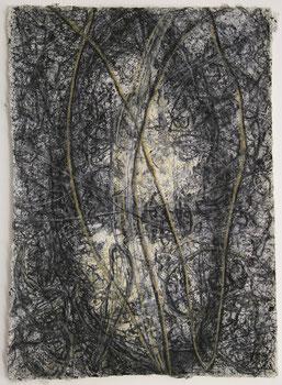 "Markus A. Huber, ""0pus 136"", 1999, Mischtechnik /Nepalbütten, 50x70cm"