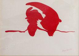 """René Duvillie  """"Cheval de mer, Encre rouge"""" 1955 Tusche / Bütten  24x34cm"""