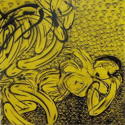 """Bananenspayer"" - Thomas Baumgärtel, ""LOVE"", Spraylack auf Leinwand, 100 x 100 cm,  1995"