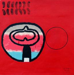 """Dietmar Brehm, """"Gehäuse"""" , (aus der Serie, verdeckte Augen),  Acryl und Edding auf Karton,  60x70cm,  auf der Rückseite Beschriftet, 2010"""
