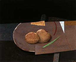 """Karl Korab, """"Stillleben mit Elementen"""", 1988, Mischtechnik / Karton, 30x35cmt"""