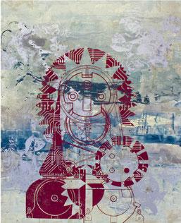 "Josef Danner,  ""Techno Madonna"" ,Mischtechnik / Leinwand  170x130cm, 2011"